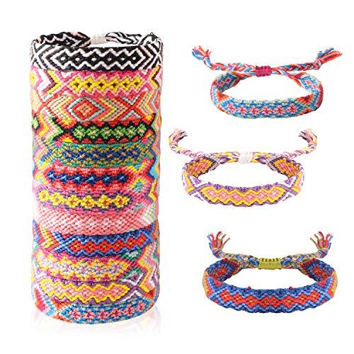 EKKONG Geflochtene Armbänder, 12 Stück handgemachte armbänder Gewebte Armbänder boho armband freundschaft Multi Farbe Geflochtene für Handgelenk Knöchel Unisex Armband für Erwachsene und Kinder