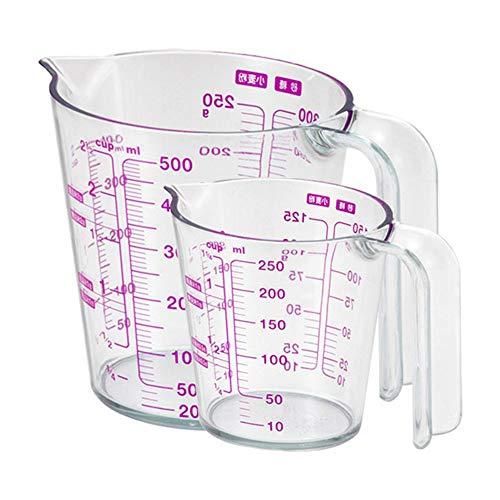Fleymu Plastica Graduato Misurino Set Trasparente Graduati Cup con Scala Tazze Contenitori Liquidi Cucina Misuratore Dosatore Laboratorio Set di Misurini Multifunzione per Farina e Zucchero (2 Pezzos)
