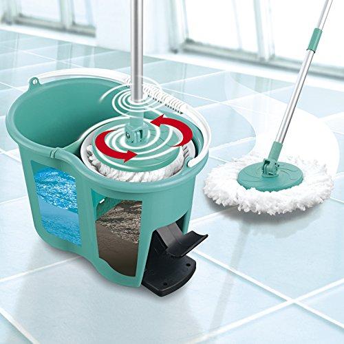 CLEANmaxx Power-Wischmopp Spezial-Eimer| Zwei-Kammer-Filtersystem | Schmutzwasserfilter | Leichtes Auswringen | Designed in Germany | Türkis (Wischmop)