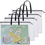 3 Pieces Art Portfolio Bag Poster Storage Bag Board Holder with Handle and Zipper 19 x 25 Inch Organizer Transparent Bag for Large Posters, Poster Board, Painting, Bulletin Boards (Black)