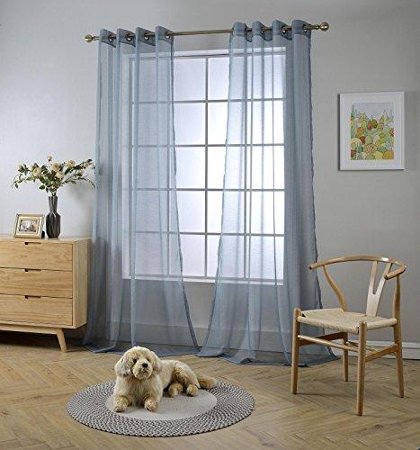 Miuco 2面板索环纹理纯色透明窗帘84英寸长为卧室(2 x 54宽x 84