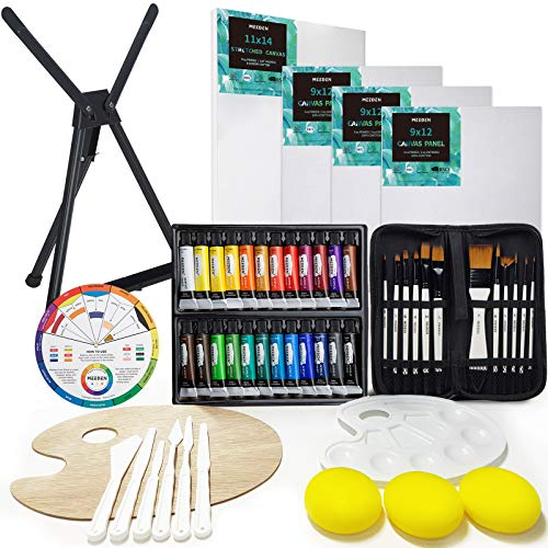 MEEDEN 53-Piece Acrylic Painting Set - Aluminum Table Easel, 24 Acrylic Paints, Stretched Canvas, Paint Brushes & Plastic Palette, Suitable for Kids & Beginner Artist