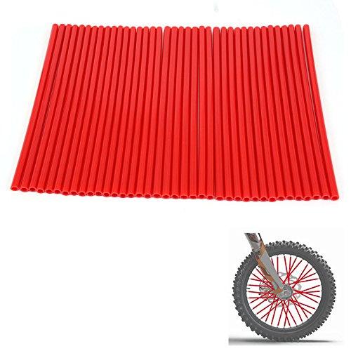 Motocricle Wheel Spoke Skins Llantas Cubiertas Wraps Abrigos Protector Dirt Bike Pit Bike (Color: Rojo)