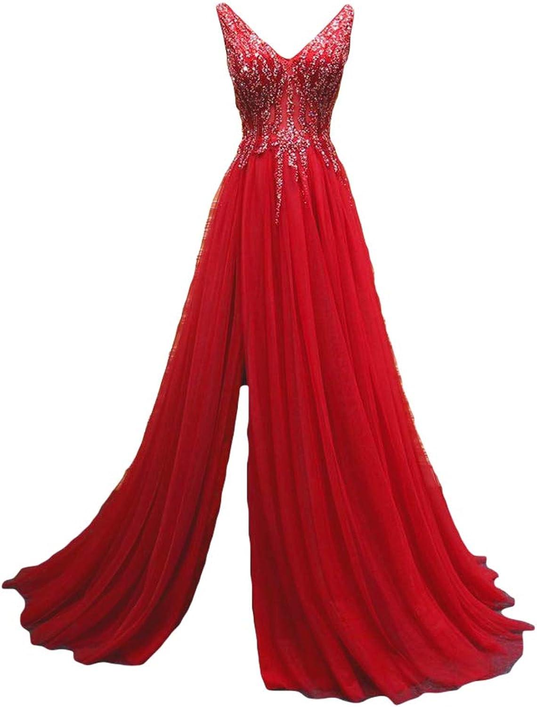 Liyuke Women's Sexy VNeck Prom Dress Appliqued Backless Evening Wedding Dress 2018