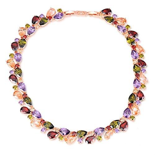 YAZILIND Damen Halskette Mode Farbe Zirkon Rose vergoldet hypoallergene Kette Halsband