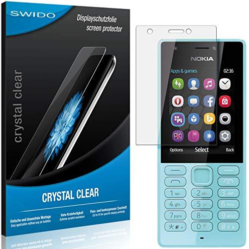 SWIDO Schutzfolie für Microsoft Nokia 216 Dual SIM [2 Stück] Kristall-Klar, Hoher Festigkeitgrad, Schutz vor Öl, Staub & Kratzer/Glasfolie, Bildschirmschutz, Bildschirmschutzfolie, Panzerglas-Folie