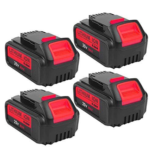 4Pack 6.0Ah DCB205 Battery for DeWalt 20V Lithium ion Battery MAX XR DCB204 DCB205 DCB206 DCB205-2 DCB201 DCB203 DCB181 DCB180 DCD/DCF/DCG/DCS Replacement for DeWalt 20V Batteries