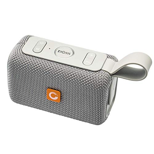 DOSS E-Go Portable Bluetooth Speaker with Loud Volume, IPX6 Waterproof and Rugged for Home and Outdoor, Built-in Mic. Perfect Wireless Speaker for iPhone, Samsung and More - Grey