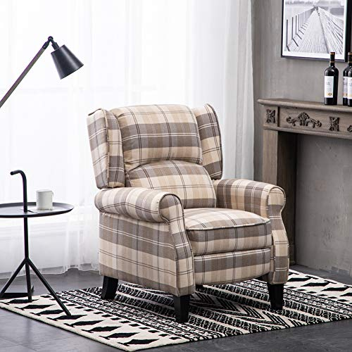 Warmiehomy Wing Back Recliner Chair Fabric Tartan Lounge Armchair Sofa Reclining Chair with Solid Wood Legs for Living Room Bedroom (Tartan Beige)