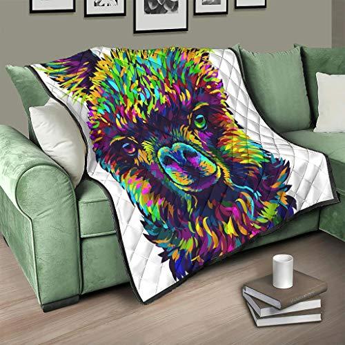 Colcha de alpaca multicolor, manta 3D, digital, manta de viaje, color blanco, 230 x 260 cm