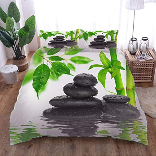 Duvet Cover Bamboo lake with 2 Pillowcases 3D Printed Bedding Set Quilt Case Children Teens Microfibre Zipper Closure Adults Kids Double - 200x200cm