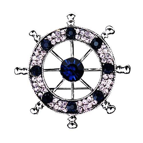 Men Nautical Brooch Badge Pin Ships Wheel Helm Pin Pin Clips Navy Style Crystal Corsages