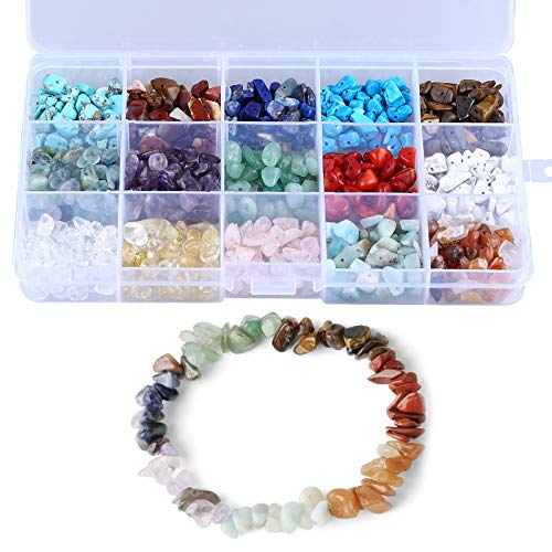 LQKYWNA Kit de fabricación de cuentas de piedra para joyería, collar, pulsera, pendientes, bricolaje con caja portátil, 15 colores de lava natural de cristal irregular