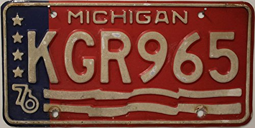 Nummernschild USA Michigan 76 : Kennzeichen US License Plate : Blechschild mit Grafik Sterne , Wellen