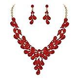 Clearine Juegos de Joyas de Mujer Forma Hojas Lágrimas Encaje Flores Cristales Collar y Pendientes para Novia Boda Fiesta Rojo Tono Dorado