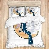 ATZTD Juego de ropa de cama, funda de edredón, diseño de mujer arcaica con trompeta sentada en la luna creciente estrellas navideñas, microfibra 230 x 220 con 2 fundas de almohada de 80 x 50, King