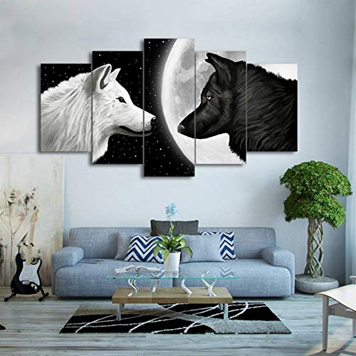 WFUBY 5 paintings HD Print 5 pieces white and black wolf in the moon canvas painting art living room painting home decor wall art picture(No Frame)-40x60x2 40x80x2 40x100cm