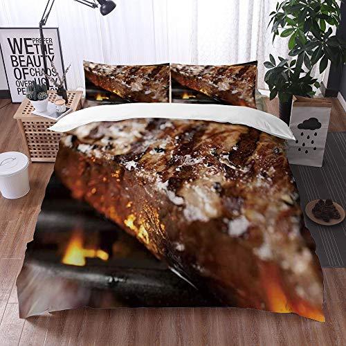 Mingdao Bedding Juego de Funda de Edredón -NY Strip Steak Parrilla a la Parrilla/Microfibra Funda de Nórdico (Cama 220 x 240 cm + Almohada 50X80 cm)