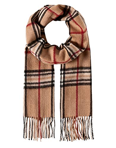 Vincenzo Boretti sciarpa invernale per uomo e donna classica, leggera e morbida - di lana vergine e cachemire - a quadri - con sfrangiatura beige