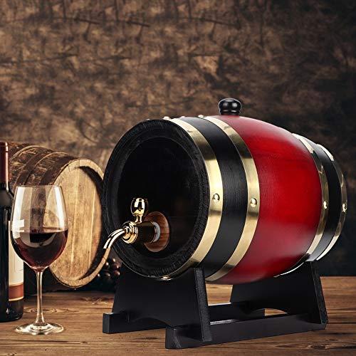 Barril de vino, 3L Vintage Oak Barrel Wood Barril de vino Dispensador de cubos Accesorios para equipos de elaboración de cerveza casera, para vinos de tienda, vinos tintos, brandy(3L-Vino rojo)