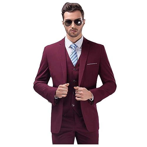 59ffed9277870d MY'S Men's Suit Slim Fit One Button 3-Piece Suit Blazer Dress Business  Wedding Party