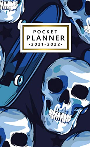 Pocket Planner 2021-2022: Small Two Year (24 Month) Calendar Organizer Agenda with Vision Boards and More - Skateboard and Death Skull