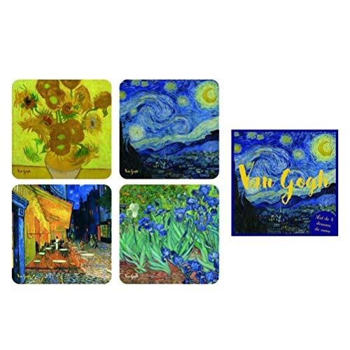Van Gogh Set 4 Sottobicchieri, Cartone, 10 x 10 x 2 cm