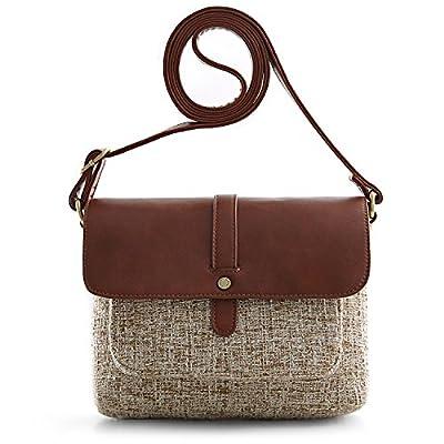 ECOSUSI Women Shoulder Crossbody Bag Flap-over Vintage Handbag Purse with Back Pocket