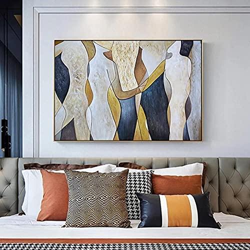 Impresión en lienzo Pintura grande Amante de la lluvia Paisaje Pintura al óleo sobre lienzo Imágenes artísticas de pared para la sala de estar Decoración del hogar El mejor regalo 50x75cm Sin marco