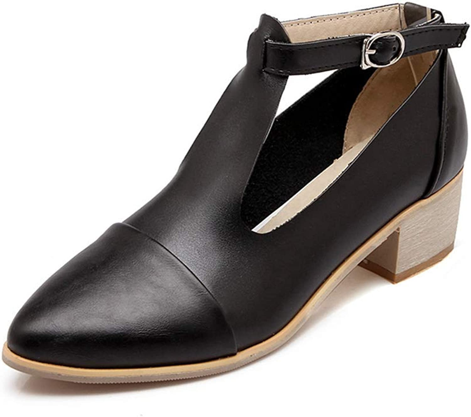 BMTH Women's Pointed Toe T-Strap Oxford Pumps Mary Jane Platform Buckle Strap Chunky Mid Heel Dress shoes