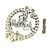 yasu7 5 unids/set musulmán Islam Eid Mubarak corona colgante de madera actividades decoración para Iftar regalos