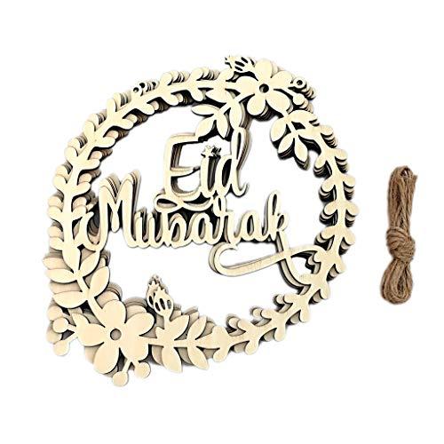 ruiruiNIE 5Pcs / Set Muslimischer Islam Eid Mubarak Kranz Holz hängender Anhänger Ramadan Aktivitäten Dekoration für Iftar Geschenke