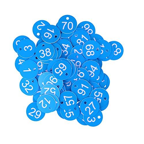 Etiqueta numerada, letrero de colmena brillante duradero de alta calidad 100 piezas para control de enfermedades de la cría de animales de apicultura(Blue and white)