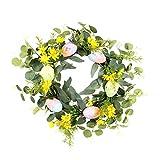 Pasqua Corona dell'uovo di Pasqua artificiale Porta Ghirlanda con foglie verdi di eucalipto Fiori per la porta il giorno di Pasqua