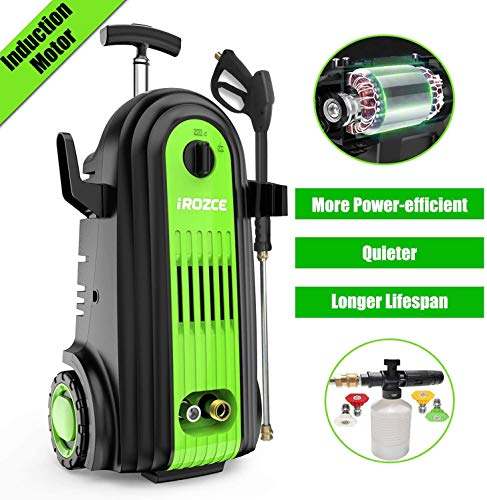 iRozce Pressure Washer, 3800PSI 2.6GPM Max Brushless Induction Motor Electric Power Washer with Foam Cannon, Metal Adapter, Connector Nozzles for Driveway, Car Washing (Green)