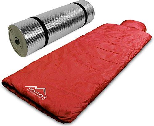 normani Pilotenschlafsack mit Kissen und Aluminium Isomatte Farbe Rot