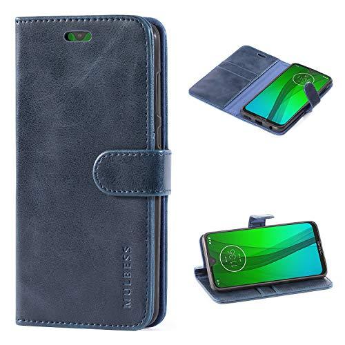 Mulbess Handyhülle für Motorola Moto G7 Plus Hülle Leder, Motorola Moto G7 Plus Handy Hüllen, Vintage Flip Handytasche Schutzhülle für Motorola Moto G7 / G7 Plus Hülle, Navy Blau