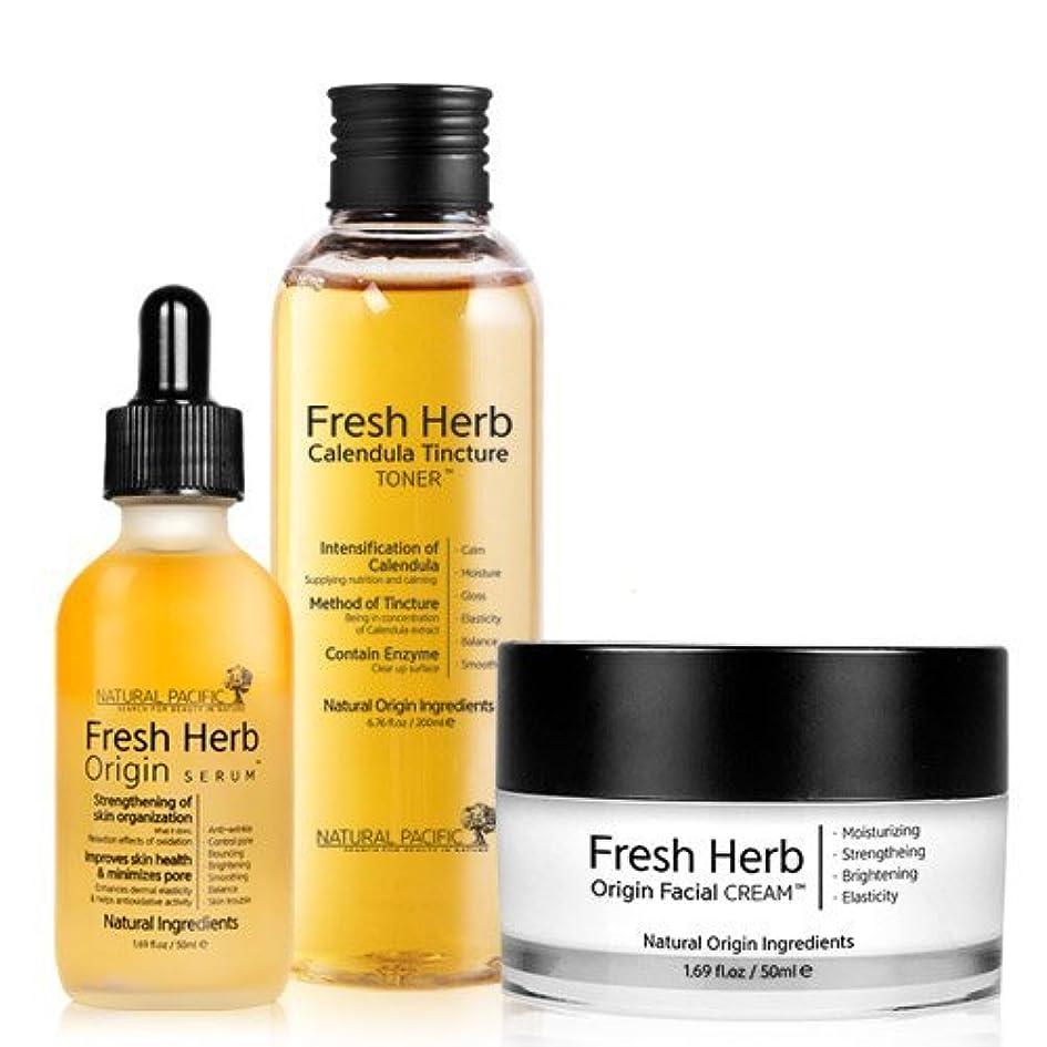 葉を集める技術的なエンジニア[NACIFIC] ?Renewal Fresh Herb Origin SET/[ナシフィック] フレッシュ ハーブ オリジン 3種 セット (トナー+セラム+クリーム)/旧 ナチュラルパシフィック [並行輸入品]