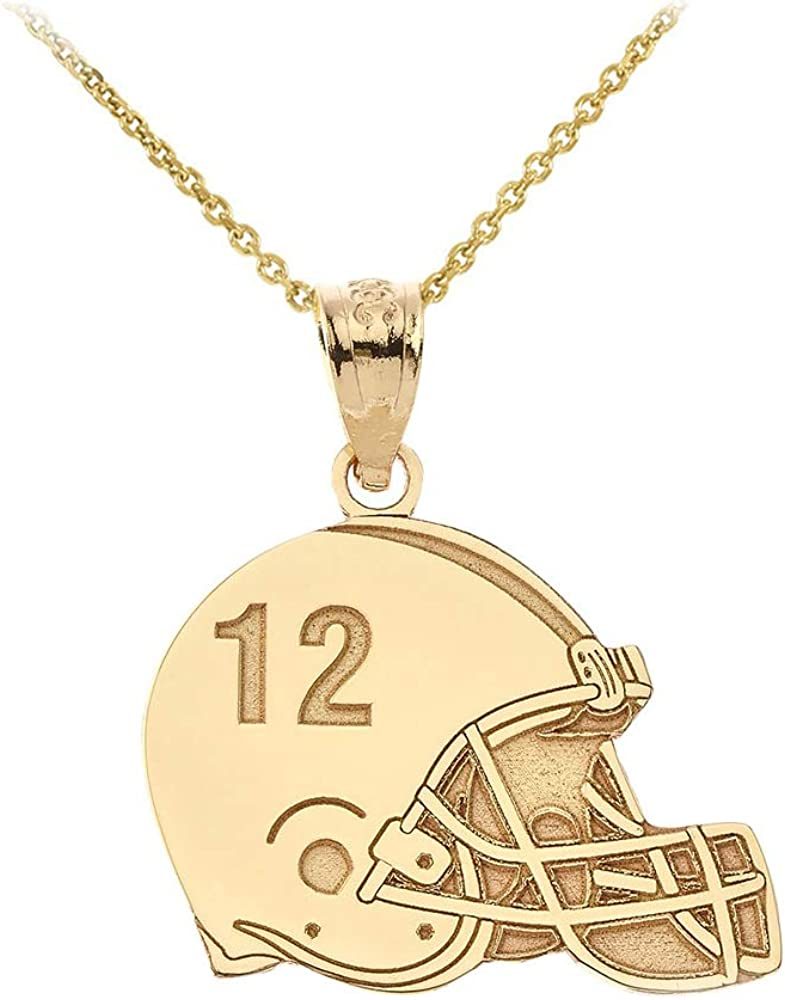 Sports Charms Certified 10k Yellow Gold Customized Football Helmet Necklace with Your Name and Number