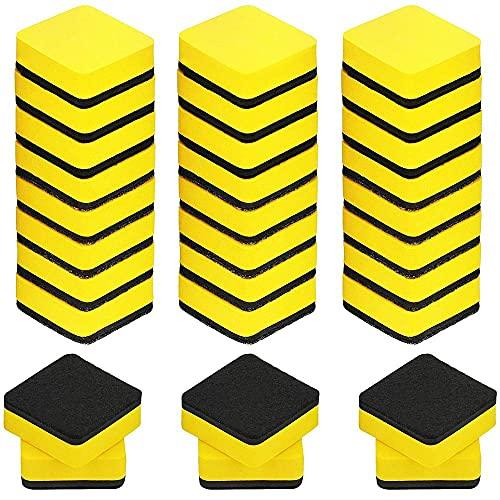 Borrador magnético 30 PCS Negro/Amarillo/Verde Blanco Magnético Borrar seco Pizarra Limpiadores Limpiadores Removedor de manchas (Color : Yellow)