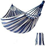 KEREITH Al Aire Libre jardín Hamaca algodón Suave Camping Hamaca con Mochila, Mejor para Patio (Azul/Blanco,MAX Load 200lbs)