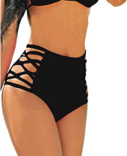 CROSS1946 Sexy Women's Bikini Retro High Waisted Strappy Brief Bottom Solid Tankini Swimsuit