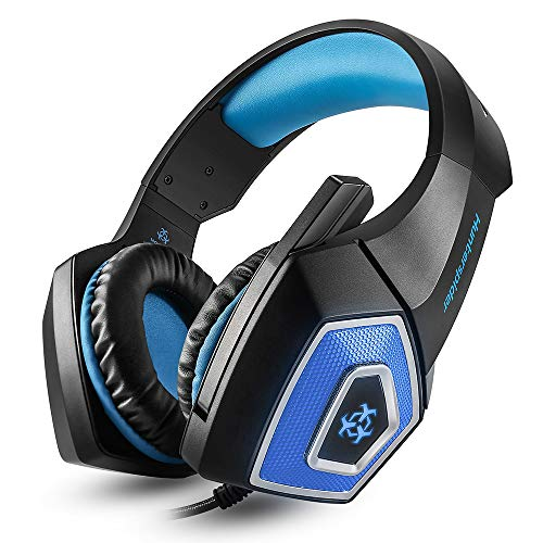 KEMANDUO Hunterspider V1 Headset, Wired Regler-Kopfhörer/Kopfhörer mit LED-Licht Mikrofon Player für PC PS4 Xbox One,Blau