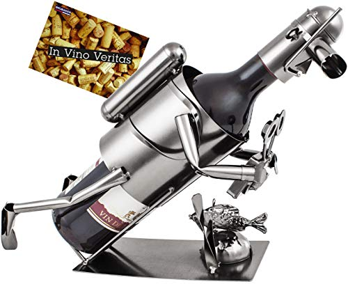 BRUBAKER Soporte de botella de vino de buceo con cámara de metal con tarjeta de felicitación
