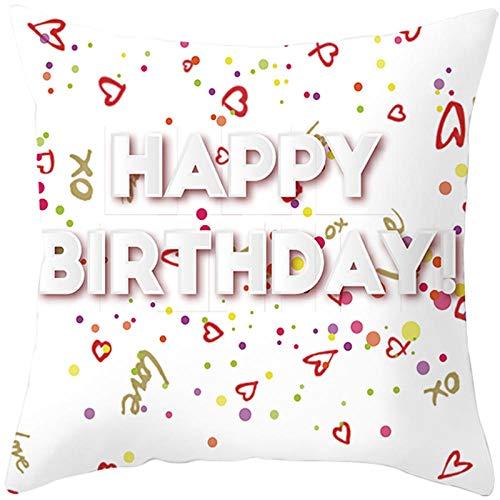 JHJFD Cojines Funda Felicitaciones De Cumpleaños Cojines Decorativos para 45X45 Cm Almohada del Sofá Cremallera Invisible para Sofá Dormitorio Coche (Sin Núcleo De Almohada)