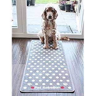 Dog Floor Mat Rug Grey Polka Dot Design Stop Those Muddy Paws!:Superhyipmonitor