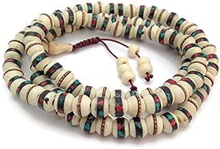 Tibetan Turquoise and Coral Inlay Bone 108 Beads Meditation Full Mala Adjustable