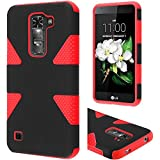 LG K7 case, LG Tribute 5 Case (Boost Mobile, Metro PCS), LF 4 in 1 Bundle, Dynamic Slim Dual Layer Hybrid Armor Cover Case, Stylus Pen, Screen Protector & Wiper Accessory (Dynamic Red)