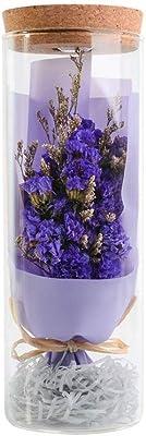 ドライフラワー バラ ランプの実魅惑の花ウィッシュボトル、フォーエバー母の日、誕生日永遠の花で彼女のために花リモートコントロールナイトライト、ギフトプリザーブドフラワー 本物のバラ (Color : Purple, Size : 8x23cm)
