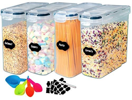 4L Vorratsdosen Set, 4 Stück Aufbewahrung Küche Stapelbar Luftdich, BPA Frei Kunststoff Vorratsgläser zur Aufbewahrung Getreide,Nudeln, Mehl, und Zucker, 1 Tafelmarkierung, 24 Etiketten & 4 Löffel